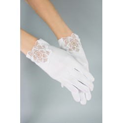 Lovely Mat Satin White First Holy Communion Gloves Style K-35 BIS