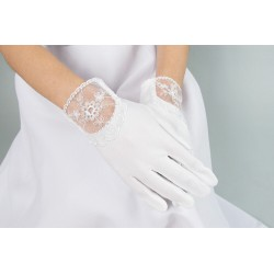 White First Holy Communion Gloves Style K-85