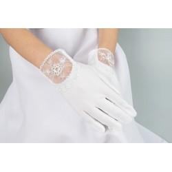 White satin communion gloves