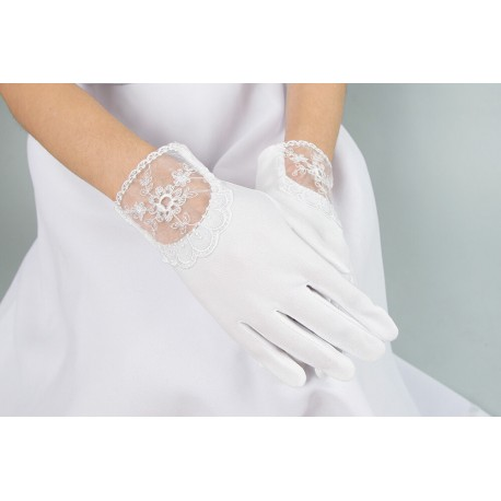 White satin communion gloves