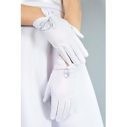 Mat Satin Communion Gloves with Crystal Style K-17