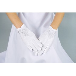 Lovely Mat Satin White First Holy Communion Gloves Style K-18