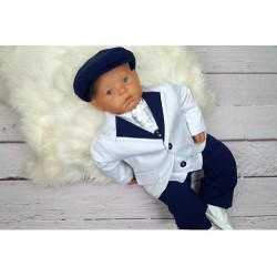 Christening/Special Occasion White/Navy Suit Style GREGORY NAVY