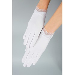 Mat Satin White First Holy Communion Gloves Style K-22