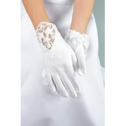 Mat Satin White First Holy Communion Gloves Style K-26