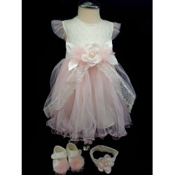 Pink/Ivory Baby Girl 3 Pieces Christening Set Style 4687