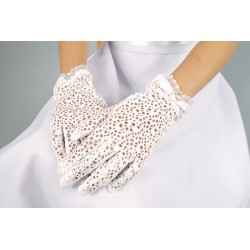 Lace White First Holy Communion Gloves Style K-23