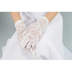 Elegant Lace White First Holy Communion Gloves Style K-91