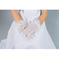 White Lace First Holy Communion Gloves Style K-19
