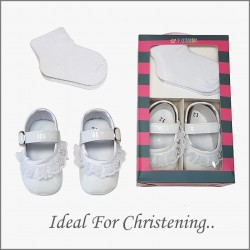 White Baby Girl Christening Shoes&Socks Set Style BB112