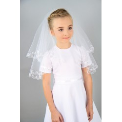 "45"" Richly Embroidered Communion Veil style KW-4"