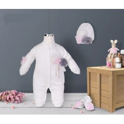 Ivory/Pink Baby Girl Grow Set Style 05226
