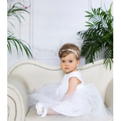 White Handmade Christening Baby Girl Dress Style POLA BIS