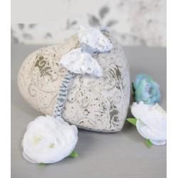 White/Gray Handmade Christening Baby Girl Headband Style TESSA BIS
