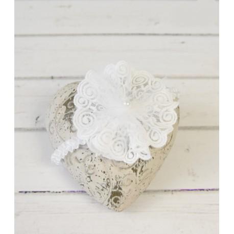 White Handmade Baby Girl Christening Headband Style MARCELINE BIS
