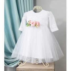 White/Pink Handmade Long Sleeve Baby Girl Christening Dress Style SOPHIA LS