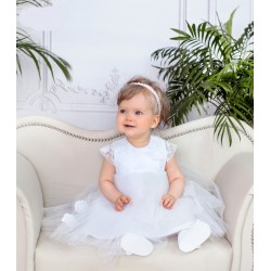 White Handmade Baby Girl Christening Dress Style LAURA BIS