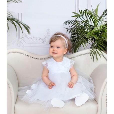 White Handmade Baby Girl Christening Dress Style LAURA BIS