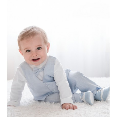 White/Blue Handmade Baby Boy Christening Outfit Style PETER BLUE