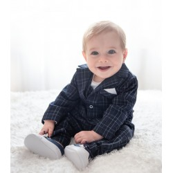 White/Navy Handmade Baby Boy Christening Suit Style FRAN