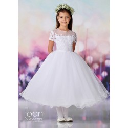 Joan Calabrese White Tea-Length First Holy Communion Dress Style 119375