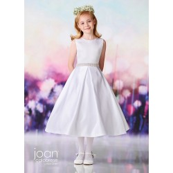 Joan Calabrese White Satin Tea-Length First Holy Communion Dress Style 119382