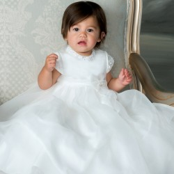 Sarah Louise Ivory Baby Girl Christening Gown & Bonnet Style 001055S