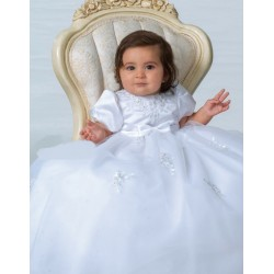 Sarah Louise White Christening Baby Girl Gown & Bonnet Style 001054
