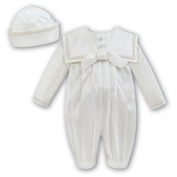 Sarah Louise Ivory Silk Baby Boy Christening Romper Style 002238