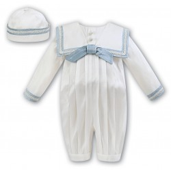Sarah Louise Ivory/Blue Silk Baby Boy Christening Romper Style 002238