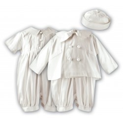 Sarah Louise Ivory Silk Baby Boy Christening Romper&Jacket&Bonnet Set Style 002215
