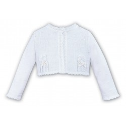 SARAH LOUISE WHITE BABY GIRL CHRISTENING CARDIGAN STYLE 006701