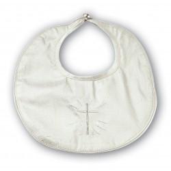 Sarah Louise Ivory Silk Christening Bib Style 003311