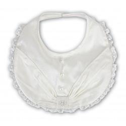 Sarah Louise Silk Ivory Baby Girl Christening Bib Style 003301