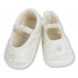 Sarah Louise Chic Baby Girl Ivory Christening/Special Occasion Shoes 004409