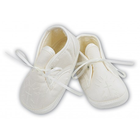 LOVELY IVORY BABY BOY SATIN CHRISTENING SHOES BY SARAH LOUISE STYLE 004403