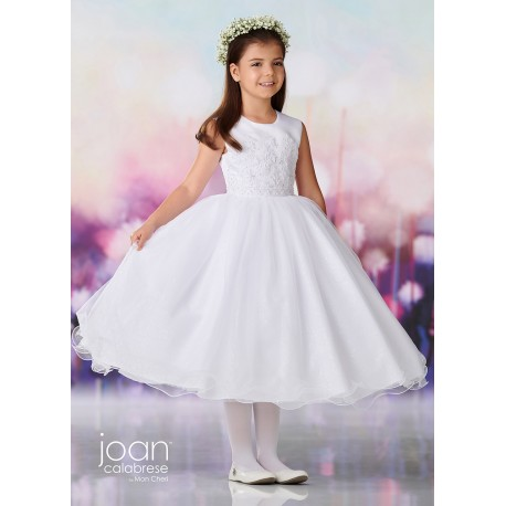 Joan Calabrese White Tea-Length First Holy Communion Dress Style 119387
