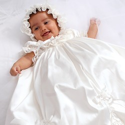 Sarah Louise Ivory Baby Girl Christening Gown & Bonnet Style 001144