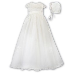 Sarah Louise Ivory Christening Gown & Bonnet Style 001163