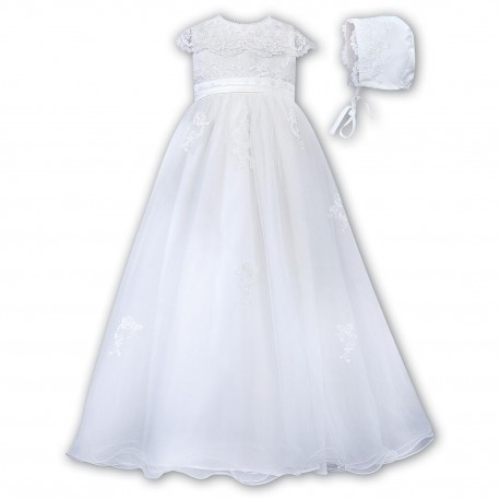 Sarah Louise White Christening Gown & Bonnet Style 001163