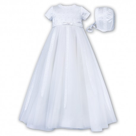 Sarah Louise White Christening Gown & Bonnet Style 001149