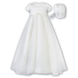 Sarah Louise Ivory Christening Gown & Bonnet Style 001149