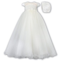 Sarah Louise Ivory Christening Gown & Bonnet Style 001171