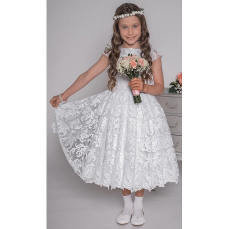 Handmade White First Holy Communion Ballerina Length Dress Style VITALIA