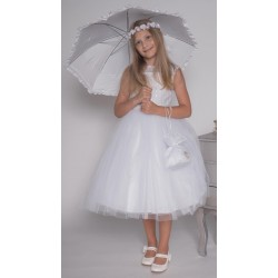 White Handmade Ballerina Length First Holy Communion Dress Style VIERA