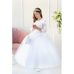 Handmade White Three-Quarter Sleeves First Holy Communion Dress Style T-797