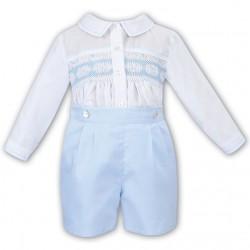 Sarah Louise White/Blue 2 Piece Baby Boy Christening Set Style 011612