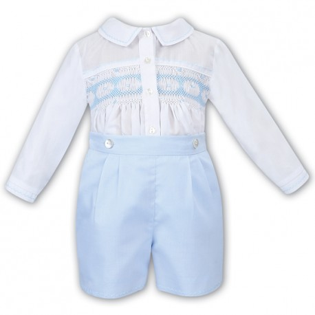 Sarah Louise White/Blue 2 Piece Baby Boy Christening Set Style 011612