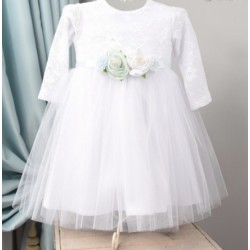 White Christening/Special Occasion Dress with Flowers Style SOPHIE
