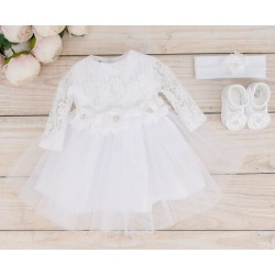Handmade Baby Girl White Christening Dress & Headband & Shoes Set Style NICOLA
